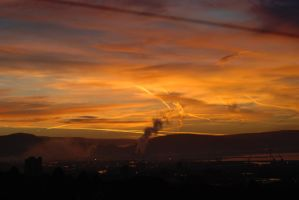 Sunise over the steelworks by Forrestris