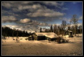 Snow Covered Cabin HDR by NOS2002