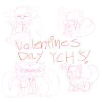 Valentines day cat YCH'S by FBIcat