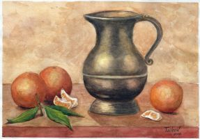 Pitcher and mandarins by TaileenDenvers