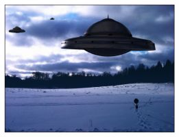 Ufos over snowy fields by jsn