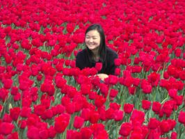 Pretty Lady In The Tulips by Photos-By-Michelle