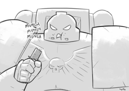 Space Marine munching by Lutherniel