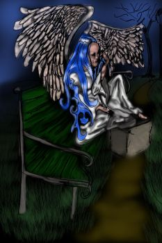 Angel Dries Her Tears on A Park Bench by bloomingvinedesign