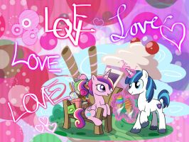 Shining Armor and Princess Cadance Wallpaper by funyan-lineart