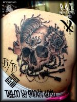 Skull and Rose Tattoo by Enoki Soju by enokisoju