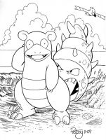 Slowbro at the sea shore by WillPetrey