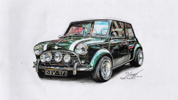 Mini cooper (Classic) Drawing by henrydsv