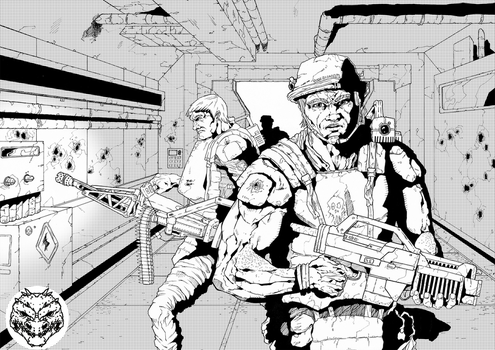 Late Inktober 2014 - Colonial Marines by Rexillion