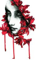 Woman with red flowers by Essers