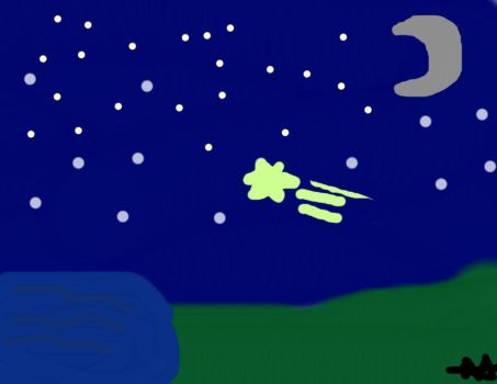 Night sky and little pond by Moxiiwubz
