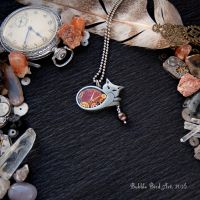 Grace the Cat - Steampunk pendant with pearl by IkushIkush