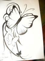 Butterfly Tattoo, Black by ClearArrow