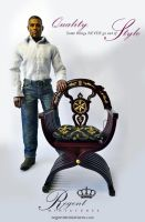 1:6 scale French Cross Leg Chair with cushion by regentminiatures