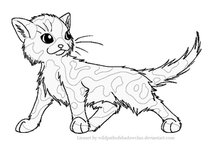 Longhaired Tortie M Lineart by WildpathOfShadowClan