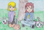Lilly and Stacy with their Digimon by Shadow26Robot