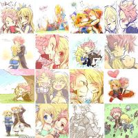 mini natsu and lucy collage~ by Naluforeva