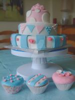 Shabby Chic 3 Tier w/ cupcakes by alexisfyre