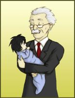 Watari and Baby L by wammy-House-secrets