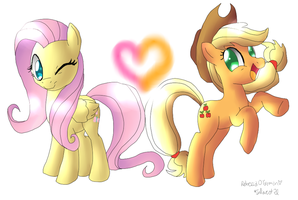 Applejack and Fluttershy by Inlinverst