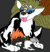 Wolf Link protects baby Midna by Impmidna