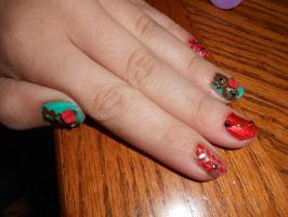 turquoise and coral nail art by Agathanaomi