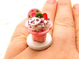 Ice Cream Cone Fruit Cake Ring by souzoucreations