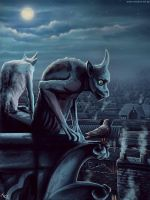 The Gargoyle and the Pigeon by jerry8448