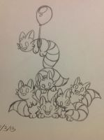 Squeelieu Dog Pile sketch - 8/3/13 by Jestloo