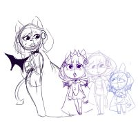 SKETCH - Her little devils by qioqos