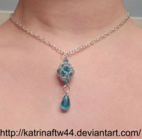 Blue and Silver Beaded bead pendant by KatrinaFTW44