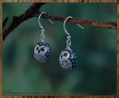Ceramic Owl Earrings - Black, Grey and Turquoise by StephaniePride