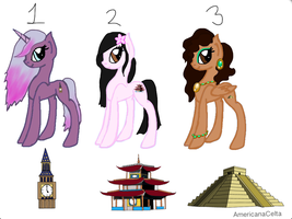 2nd batch of landmark MLP adoptables (closed) by AmericanaCelta