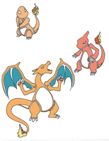 Charmander, Charmeleon, Charizard by LotusLostInParis