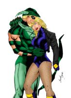 Green Arrow and Black Canary by CassieStorm