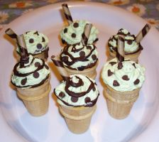Ice Cream Cone Cakes - mint by Shadowoftheredrose