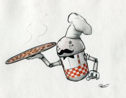 M4-M4 M1A pizza chef droid. by RobtheDoodler