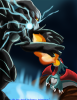 Zekrom vs Salamence by Phatmon