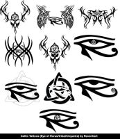 Celtic Eye of Horus/Tribal/Triquetra tattoos by Ravenhart