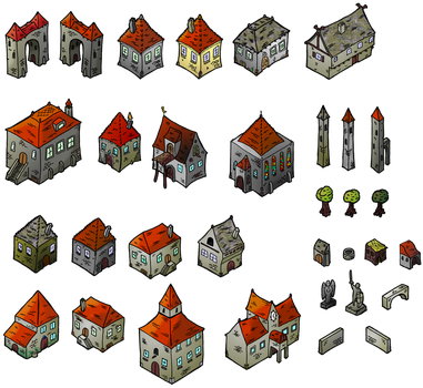 Medieval Houses Isometric Map Elements by DarthAsparagus