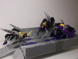 INSECTICONS FEAST ON OPTIMUS PRIMES TRAILER! by forever-at-peace