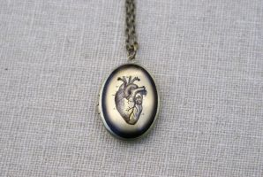Anatomical Heart Locket Necklace by MonsterBrandCrafts