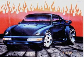blue airbrushed Porsche by MiMitchell