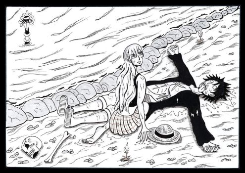 Luffy and Nami: On strange shore by juha91