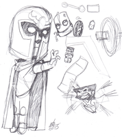 Chibi Magneto sketch by ConstantM0tion