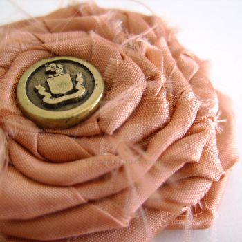 Fabric flower with emblem by MadelinesWardrobe