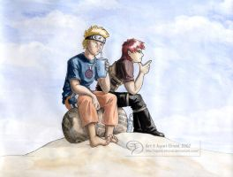 Naruto and Gaara: Off Duty by GoldeenHerself