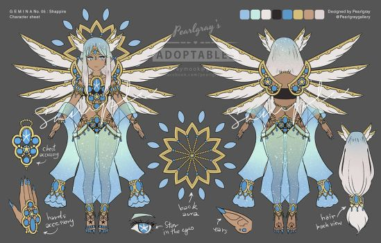 G E M I N A 05 : Sapphire - extra character sheet by Pearlgraygallery