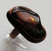 Ring 3 - Amber and Wood by AmberSculpture