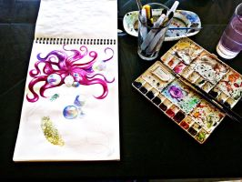 Watercolor Mermaid Process by Lin025